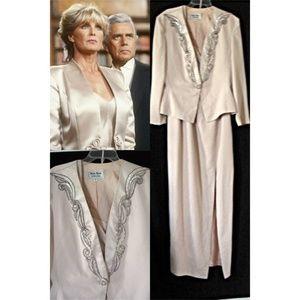 Vtg 80s Dynasty Style Formal Sheath Dress & Jacket
